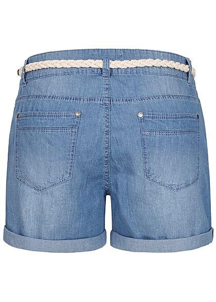 Eight2Nine Damen kurze Jeans Shorts inkl. Flechtgürtel medium blau denim