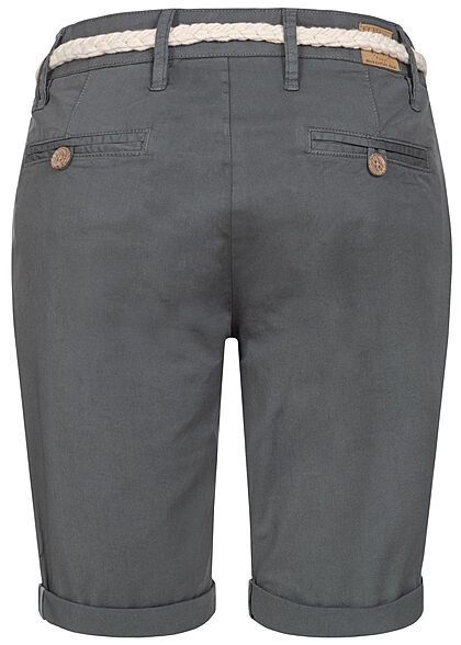 Eight2Nine Damen Bermuda Shorts inkl. Flechtgürtel 5-Pockets iron dunkel grau