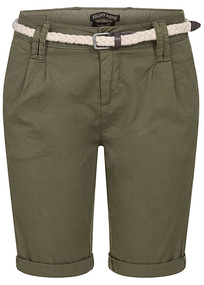 Eight2Nine Damen Bermuda Shorts inkl. Flechtgürtel 5-Pockets ivy oliv grün - Art.-Nr.: 21041862