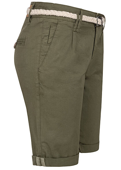 Eight2Nine Damen Bermuda Shorts inkl. Flechtgürtel 5-Pockets ivy oliv grün