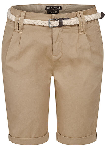 Eight2Nine Damen Bermuda Shorts inkl. Flechtgürtel 5-Pockets natural beige - Art.-Nr.: 21041863