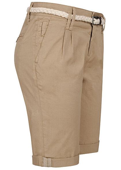 Eight2Nine Damen Bermuda Shorts inkl. Flechtgürtel 5-Pockets natural beige