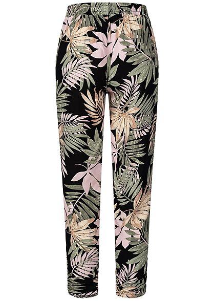 Hailys Damen Viskose Stoffhose Gummibund Tropical Print palm grün schwarz