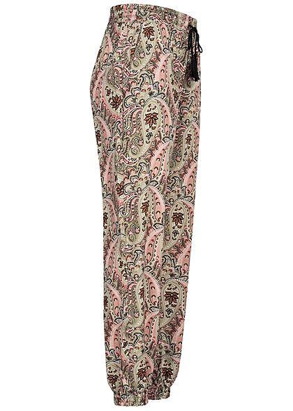 Hailys Damen Viskose Stoffhose Tunnelzug Paisley Print khaki grün rosa