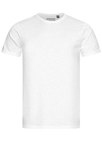 Eight2Nine Herren Basic T-Shirt weiss