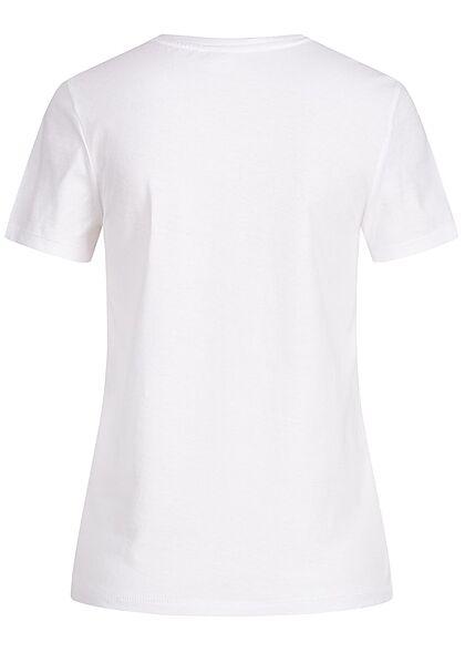 ONLY Damen Basic T-Shirt Perfection Print bright weiss
