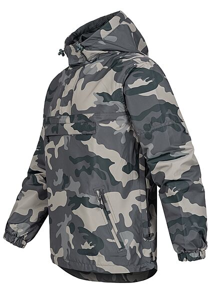 Brandit Herren Pull Over Jacke Windbreaker Kapuze Deko Tasche vorne grau camouflage