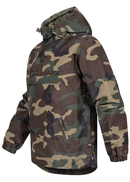 Brandit Herren Pull Over Jacke Windbreaker Kapuze Deko Tasche vorne woodland camouflage
