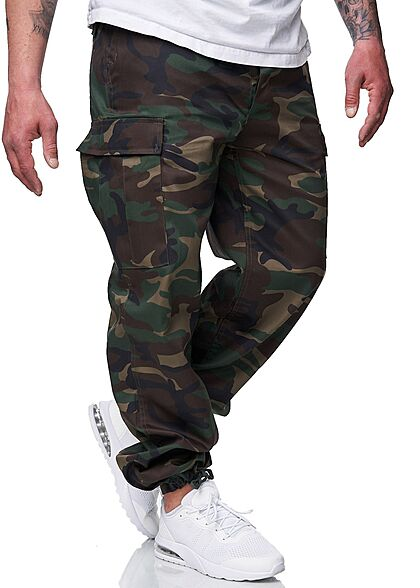Brandit Herren Cargo Hose 6-Pockets Tunnelzug unten camouflage oliv grün