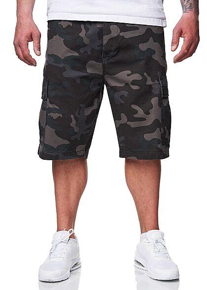 Brandit Herren Cargo Shorts RipStop Material 6-Pockets dark camo grau
