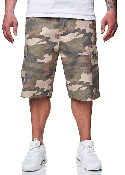 Brandit Herren Cargo Shorts RipStop Material 6-Pockets hell woodland camouflage beige