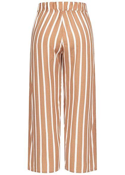 Hailys Damen leichte Culotte Sommerhose Bindedetail vorne Streifen Muster camel braun