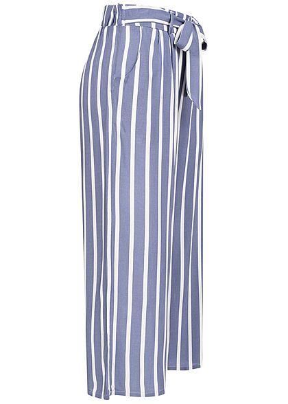 Hailys Damen leichte Culotte Sommerhose Bindedetail vorne Streifen Muster blau weiss