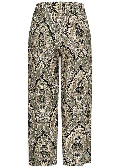 Hailys Damen leichte Culotte Sommerhose Bindedetail vorne Paisley Print grau schwarz