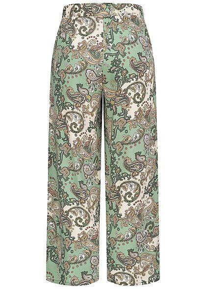 Hailys Damen leichte Culotte Sommerhose Bindedetail vorne Paisley Print grün weiss