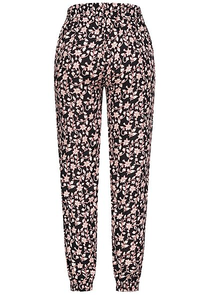 Hailys Damen Viskose Stoffhose Tunnelzug Floraler Print schwarz rosa