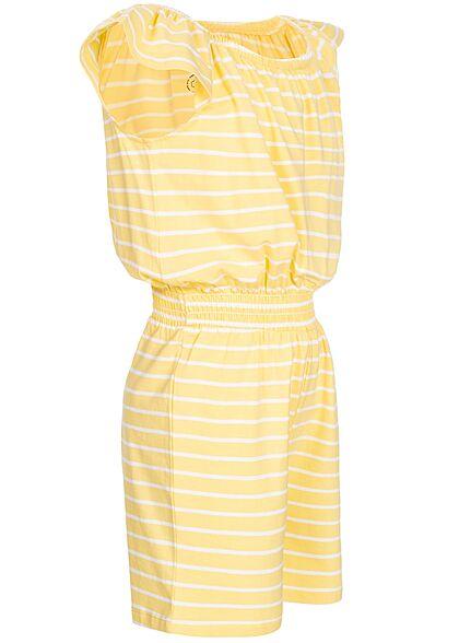 Name It Kids Mädchen kurzer Jumpsuit Gummibund Streifen Muster popcorn gelb weiss
