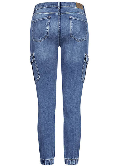 ONLY Damen NOOS Skinny Cargo Ankle Jeans Hose 7-Pockets Regular Waist medium blau den