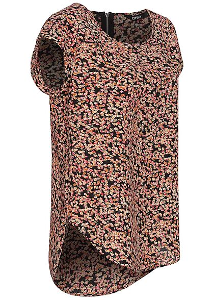ONLY Damen NOOS Blusen Top Neon Blumen Print Zipper hinten schwarz rosa gelb