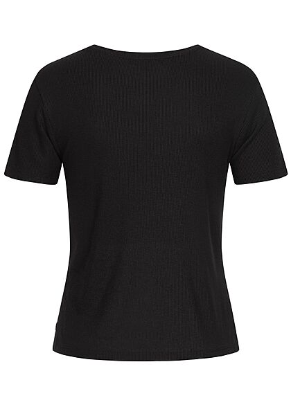Tom Tailor Damen Ribbed T-Shirt tief schwarz