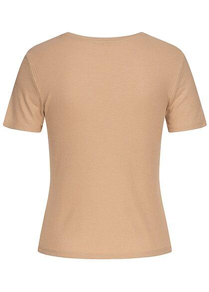 Tom Tailor Damen Ribbed T-Shirt dune beige