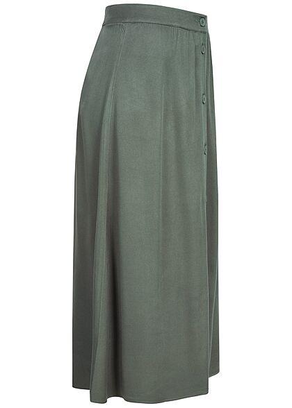 Tom Tailor Damen Midi Viskose Rock Knopfleiste vorne dusty pine grün