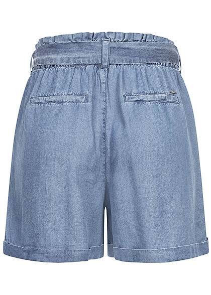 Tom Tailor Damen Paperbag High-Waist Shorts 4-Pockets inkl. Bindegürtel used blau d.