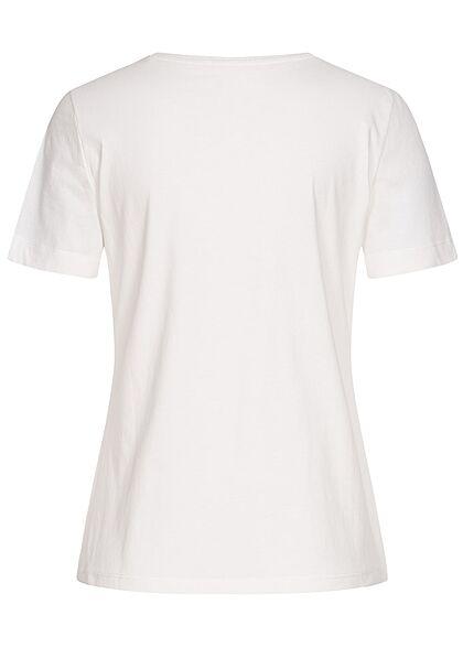 Tom Tailor Damen T-Shirt Kakteen Print vorne off weiss