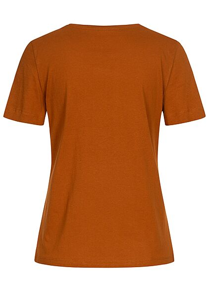 Tom Tailor Damen T-Shirt Kakteen Print vorne caramel braun