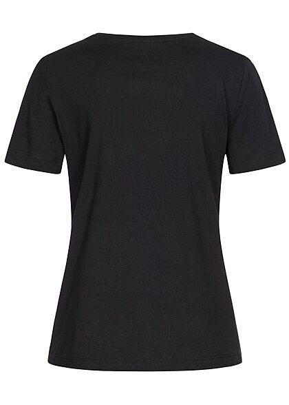 Tom Tailor Damen T-Shirt Kakteen Print vorne tief schwarz