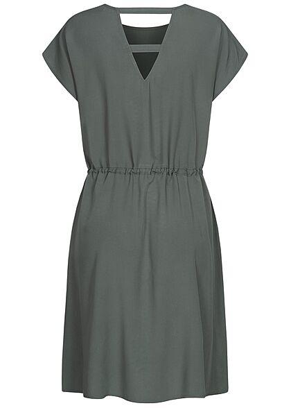 Tom Tailor Damen Viskose Sommer Kleid Cut Out hinten Taillengummizug dusty grün