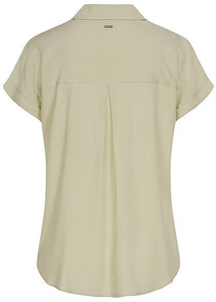 Tom Tailor Damen Viskose Bluse Knopfleiste dusty hellgrün