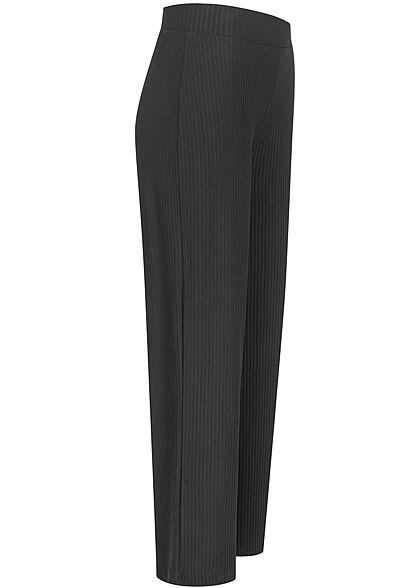 ONLY Damen NOOS Ribbed Struktur Stoffhose weiter Schnitt schwarz