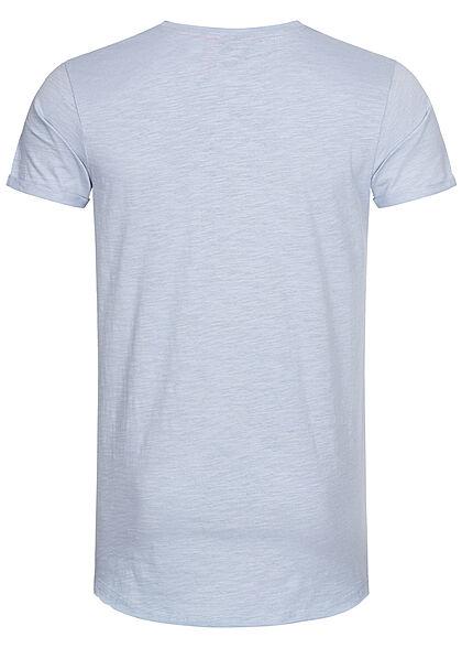 Eight2Nine Herren T-Shirt offene Nähte by Sky Rebel vintage blau