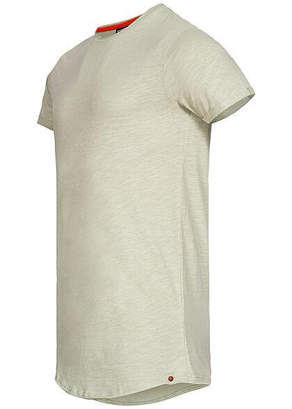 Eight2Nine Herren T-Shirt offene Nähte by Sky Rebel greyish hellgrün