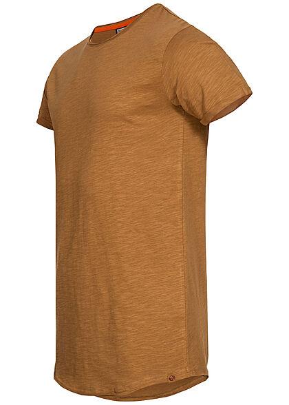 Eight2Nine Herren T-Shirt offene Nähte by Sky Rebel oak braun
