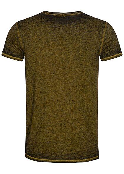 Urban Surface Herren Melange T-Shirt offene Kanten golden palm gelb