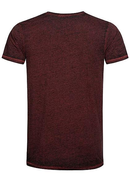 Urban Surface Herren Melange T-Shirt offene Kanten intensives weinrot bordeaux