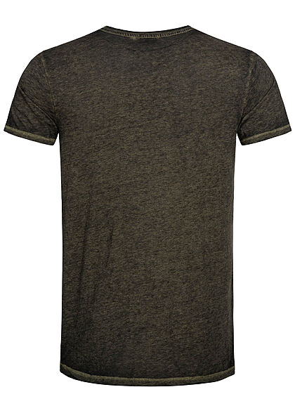 Urban Surface Herren Melange T-Shirt offene Kanten ivy oliv grün
