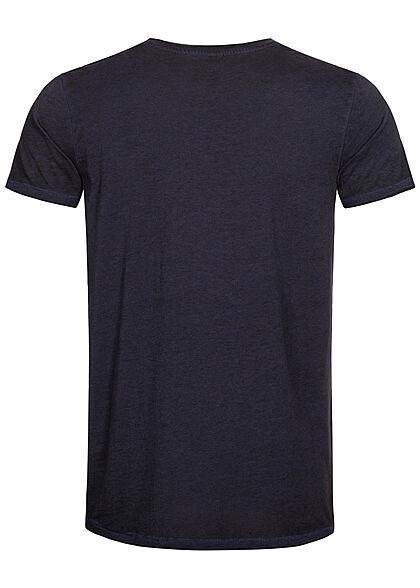 Urban Surface Herren Melange T-Shirt offene Kanten dunkel navy blau
