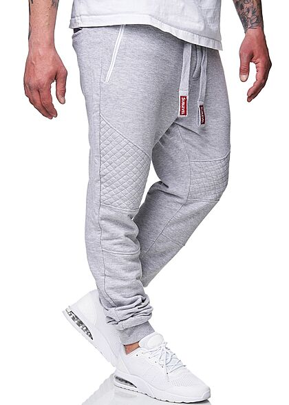 Sublevel Herren Biker Sweatpants Stoffhose 4-Pockets Tunnelzug hell grau melange