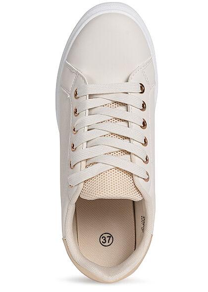 Seventyseven Lifestyle Damen Schuh Kunstleder Sneaker Mesh Look beige gold