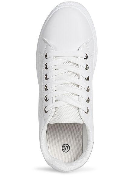 Seventyseven Lifestyle Damen Schuh Kunstleder Sneaker Mesh Look weiss silber