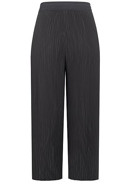 ONLY Damen Plissee Culotte Hose mit Strukturbund weiter Schnitt schwarz