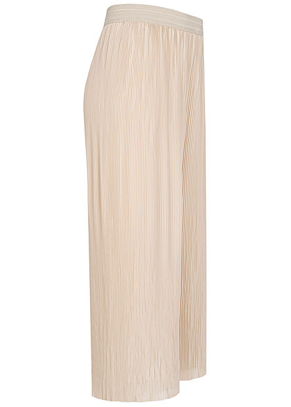 ONLY Damen Plissee Culotte Hose mit Strukturbund weiter Schnitt pumice beige