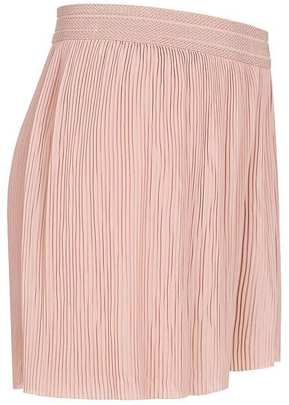 ONLY Damen Plissee Shorts mit Strukturbund lockerer Schnitt adobe rosa