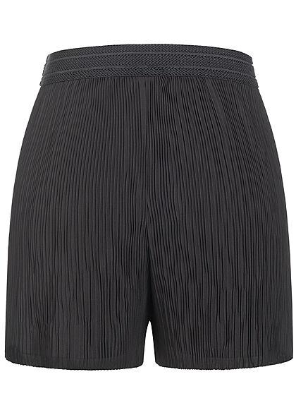 ONLY Damen Plissee Shorts mit Strukturbund lockerer Schnitt schwarz