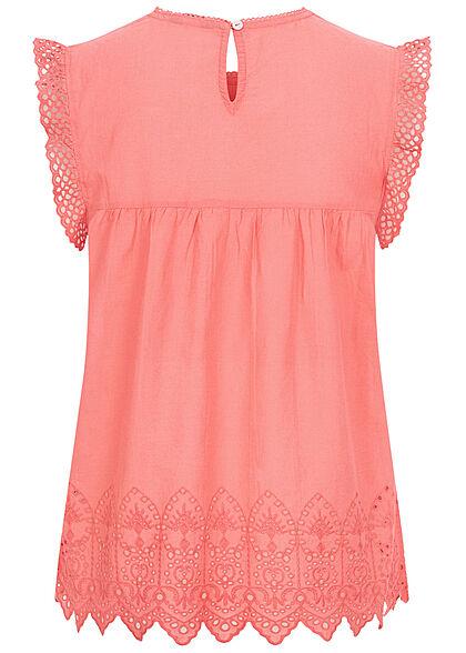 ONLY Damen Lyric Denim Blusen Top mit Rüschen & Stickerei tea rose dunkel pink