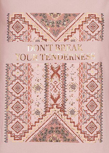 ONLY Damen Tank Top Azteken Print Vokuhila adobe rosa