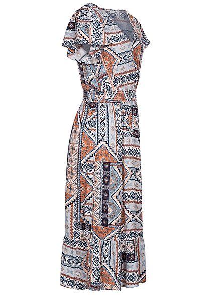 ONLY Damen V-Neck Midi Viskose Kleid Azteken Print faded denim blau